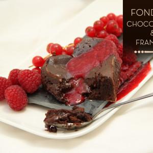 Fondants chocolat coulis framboises