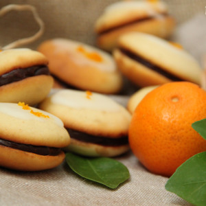 whoopies macarons chocolat fleur d'oranger