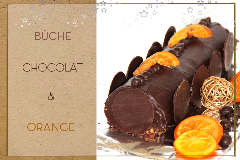 Buche au chocolat et orange confite