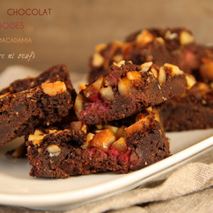 brownies chocolat framboises noix macadamia