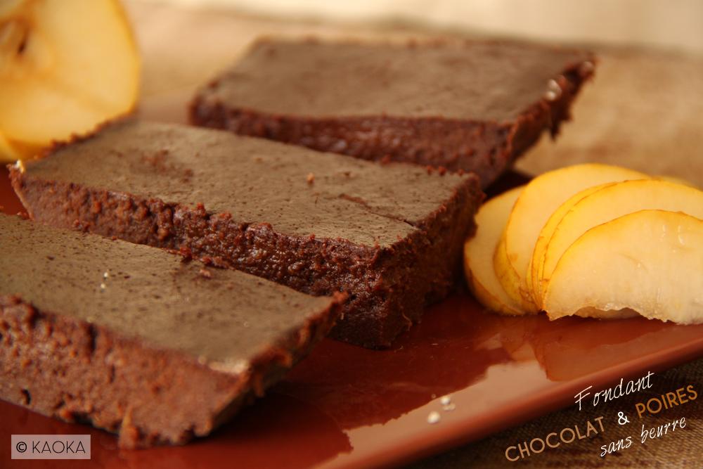 Fondant chocolat poires sans beurre