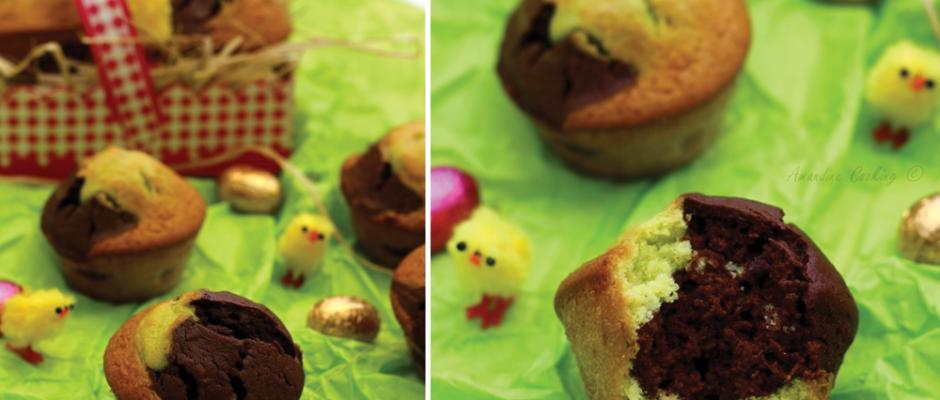 muffins marbrés chocolat pistache
