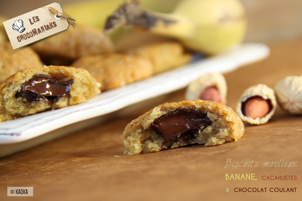 recette biscuits moelleux banane cacahuetes coeur chocolat coulant