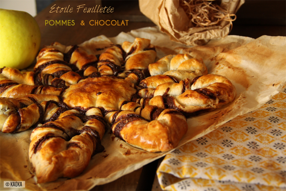 etoile pate feuilletee pommes chocolat