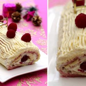 recette bûche chocolat blanc framboises