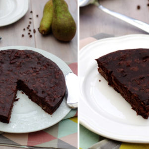 gateau vegan chocolat poires sans beurre sans oeuf