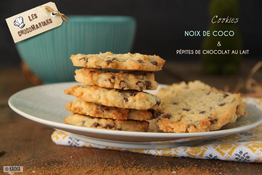 cookies la noix de coco p pites de chocolat au lait. Black Bedroom Furniture Sets. Home Design Ideas