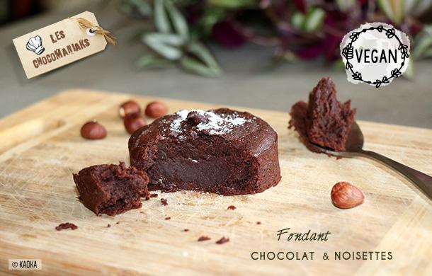 fondant vegan chocolat noisettes bio kaoka