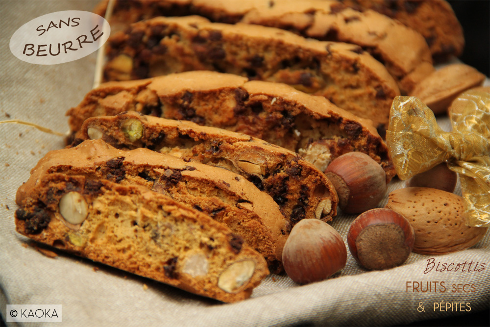 recette biscottis fruits secs pépites chocolat