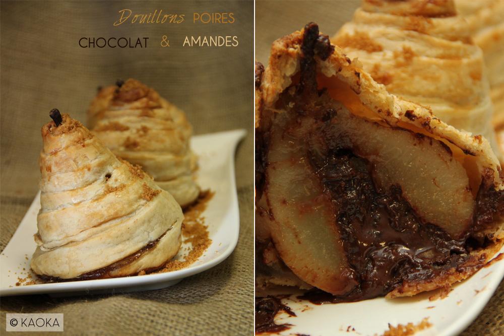 Recette Douillon poires chocolat bio amandes KAOKA