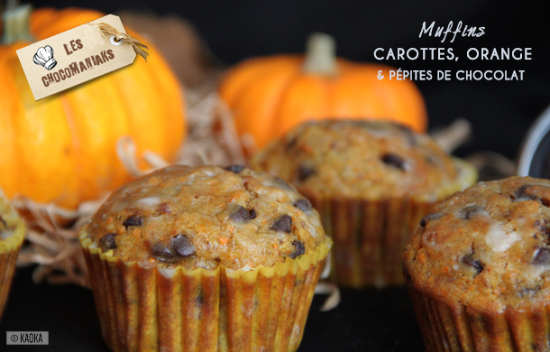 Recette muffins carotte orange pépites de chocolat bio