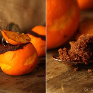 Moelleux chocolat bio équitable cuit dans orange