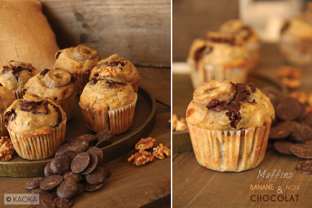 recette muffins banane noix chocolat