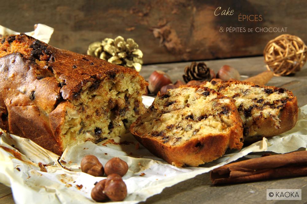 recette cake epices pepites chocolat