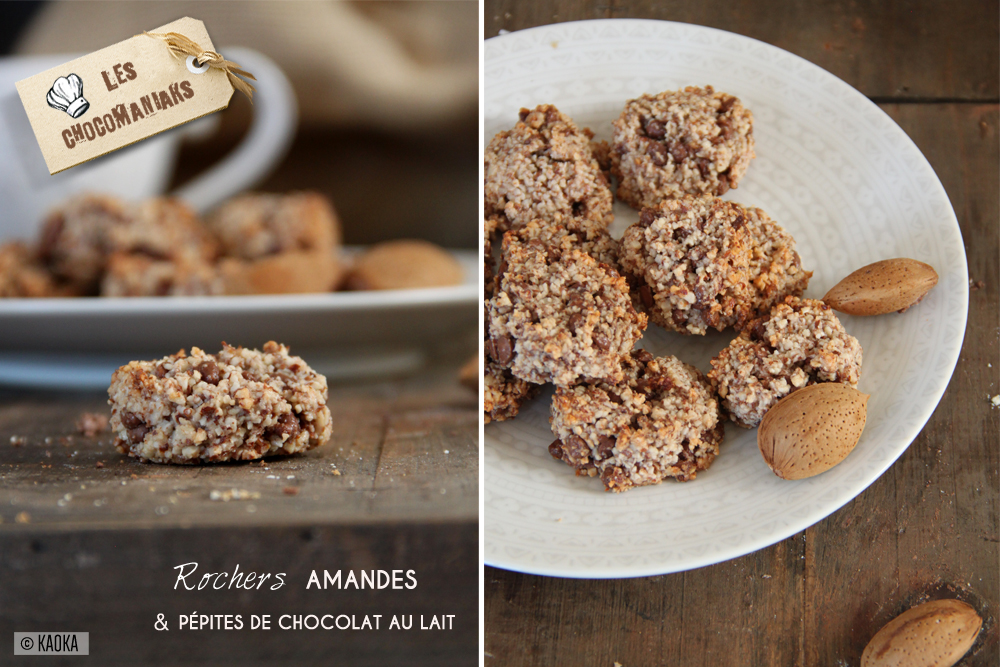 recette biscuits rochers amandes pépites chocolat lait