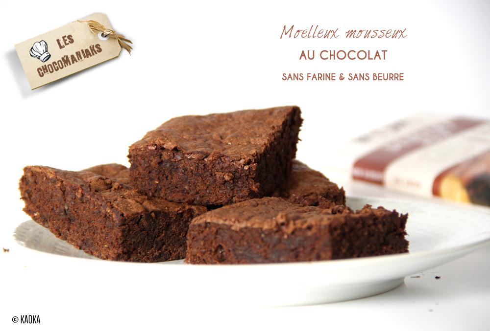 recette moelleux mousseux chocolat sans farine sans beurre
