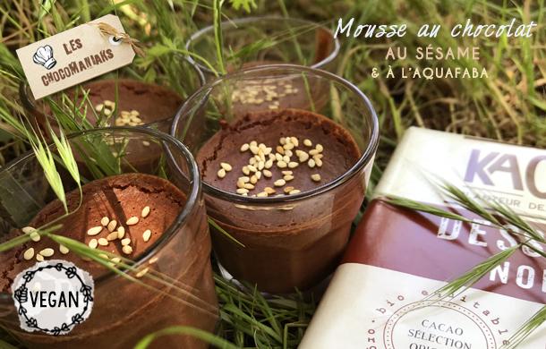 Recette de mousse au chocolat et sésame vegan