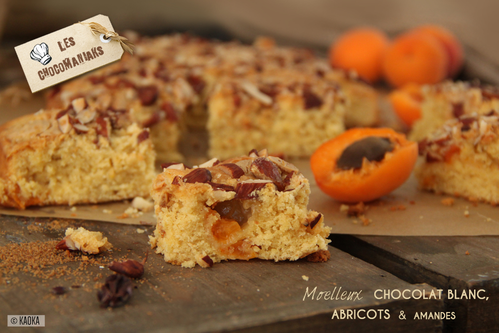 recette moelleux chocolat blanc abricot amandes
