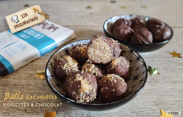 Recette de Balls Cacahuètes Noisettes et Chocolat