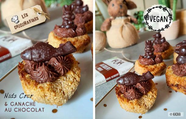 Recette de nids coco vegan et ganache au chocolat