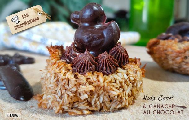 Nids rochers coco et ganache au chocolat
